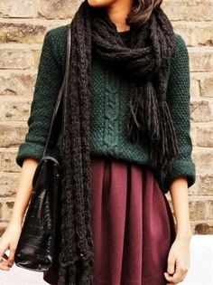 In love with this outfit. The top is a cypress colored knit sweater and the skirt is a sangria colored wool. The perfect combination of textiles. Top it off with a scarf and I'm in cozy heaven.