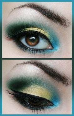 87c65407b938 Teal blue and gold eye make up for brown eyes.