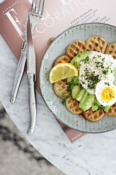 Rye waffles with avocado & cottage cheese. What a combo!!  #YUM #waffles #avocado