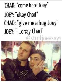 "Chad Graham  giving Joseph Stamper a hug!!!! Chad that's to sweet to give Joseph a hug! Chad: ""come here Joey"" Joey: ""okay Chad"" Chad: ""give me a hug Joey"" Joey: ""okay Chad"""