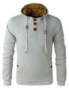 Henley Hoodie w/ Elbow Patches Light Grey