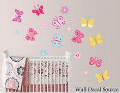 Flor de etiqueta de la pared de mariposas por WallDecalSource