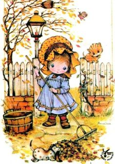 Thank you sweet Annie and a happy autumn to you too! Holly Hobbie, Vintage Cards, Vintage Postcards, Vintage Images, Autumn Illustration, Cute Illustration, Sarah Key, Anne Geddes, Vintage Children