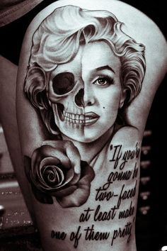 Marilyn Monroe tattoo but with color, red rose  and lips, blonde hair and what not