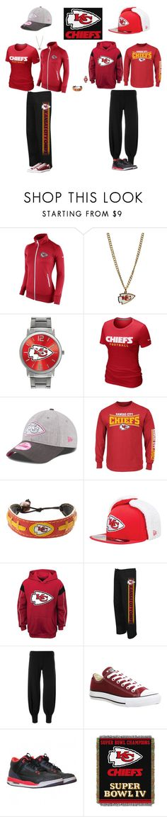 """Kansas City Chiefs"" by jenabbyreid on Polyvore featuring NIKE, WinCraft, Game Time, New Era, GameWear, Majestic, Norma Kamali, Converse and The Northwest Company"