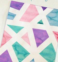 DIY Geometric painting with masking tape (tape resist painting) // Geometrikus vízfestmények maszkoló szalaggal egyszerűen // Mindy - craft tutorial collection // #crafts #DIY #craftTutorial #tutorial #PaperCrafts #KreatívÖtletekPapírból