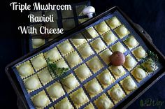 Three Mushroom Ravioli with Cheese is a recipe that makes a delicious earthy mushroom filling for fresh pasta dough. Ravioli are easy to make and freeze.