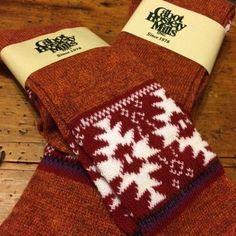 Fair Isle Snowflake KNEE HIGH Boot SOCKS CABOT USA Burnt Orange Acrylic Blend  #Cabot #KneeHigh