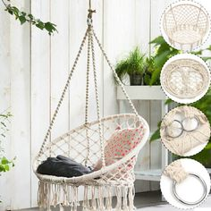 Macrame Hanging Chair Beige Hanging Cotton Rope Macrame Hammock Chair Swing Outdoor Home Macrame Hammock Chair Tutorial Macrame Hanging Chair, Hanging Hammock Chair, Swinging Chair, Hanging Chairs, Diy Hanging, Outdoor Hammock Chair, Rope Hammock, Hammocks, Outdoor Lounge