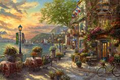 French Riviera Cafe by Thomas Kinkade presented by World Wide Art Thomas Kinkade Art, Kinkade Paintings, Images Instagram, Birds In The Sky, Illustrations, French Riviera, Best Artist, Trip Planning, New Art