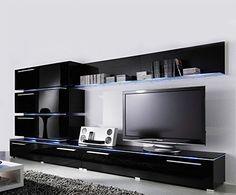 Liren Black - Contemporary Wall Unit / European Entertainment Center / Design…