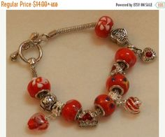 CLEARANCE European Style Charm Bracelet in tones of Red. V15
