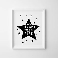 Baby wall art, kids room sign, charity print, when you wish upon a start, digital printable, nursery quote, black and white kids decor