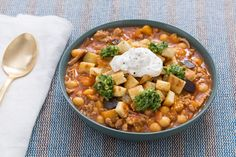 Spiced Turkey & Chickpea Chili with Chermoula, Labneh & Pita Croutons. Visit https://www.blueapron.com/ to receive the ingredients.