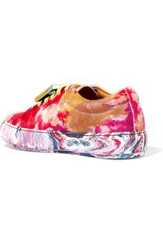 Acne Studios - Adriana Plaque-detailed Printed Calf Hair Sneakers - Yellow - IT41