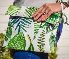 Printed Bags, Tropical Leaves, Clutch Bag, Cap, Shower, Makeup, Fabric, Prints, Baseball Hat