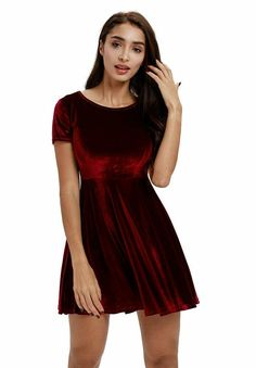 28d2b6c8da Moxeay Womens Backless Velvet Pleated A-line Skater Mini Dress  fashion   clothing