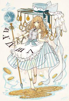 Alice in the wonderland (anime style) Disney Kunst, Arte Disney, Disney Art, Chibi, Kawaii Anime, Manga Anime, Alice Anime, Chesire Cat, Beautiful Anime Girl