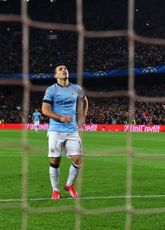 Sergio Aguero of Manchester City reacts after seeing his penalty saved by Marc-Andre ter Stegen of Barcelona during the UEFA Champions League Round of 16 second leg match between Barcelona and Manchester City at Camp Nou on March 18, 2015 in Barcelona, Catalonia.