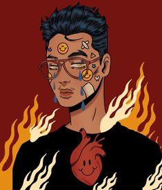 Arte Grunge, Grunge Art, Vintage Cartoon, Cartoon Art, Art Sketches, Art Drawings, Character Art, Character Design, Arte Indie