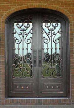 tuscan style wrought iron doors | Double Iron Doors | Entry | Exterior | Front | Wrought | Custom ...