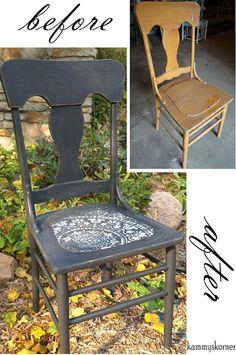 Kammy's Korner: Black Kitchen Chair With Medallion Designed  Seat Cutting Edge Stencil Prosperity Mandala