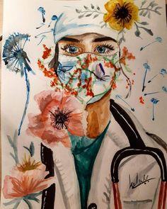 Nurse Drawing, Mask Drawing, Medical Wallpaper, Drawing Competition, Nurse Art, Art Mignon, Flower Phone Wallpaper, Art Carte, Cool Art Drawings