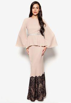 Jadeera Baju Kurung by JLuxe Muslim Fashion, Modest Fashion, Hijab Fashion, Fashion Outfits, Peplum Long Dress, I Dress, Batik Fashion, Dressy Dresses, Elegant Outfit
