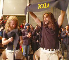 Fili and Kili - final day of filming The Hobbit: The Battle of Five Armies.