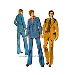 70s MEN'S SUIT PATTERN Jacket & Bell Bottom Pants Western Leisure Hipster Sports Suit Chest 38 Vintage Simplicity 6310 by DesignRewindFashions - Vintage & Modern Sewing Patterns