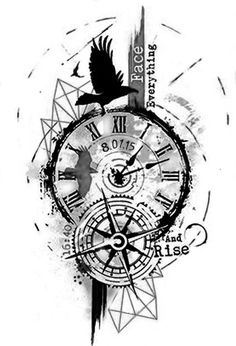 Image may contain: drawing Clock Tattoo Design, Compass Tattoo Design, Tattoo Designs, Clock Tattoos, Celtic Tattoo Symbols, Celtic Tattoos, Baby Tattoos, Tattoos For Guys, Clockwork Tattoo