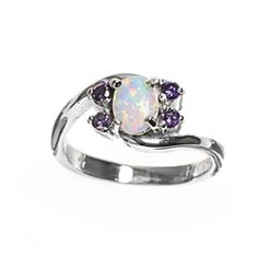 Rhodium Plated Sterling Silver Wedding & Engagement Ring White Opal, Amethyst Ladies Ring 8MM ( Size 6 to 9) Double Accent. $29.99