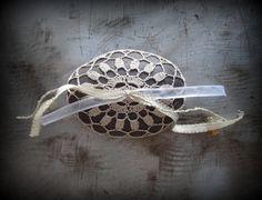 Wedding Stone Crocheted Lace Ecru Thread Ring Bearer by Monicaj