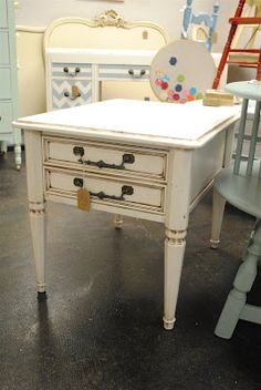 ivory antiqued end table