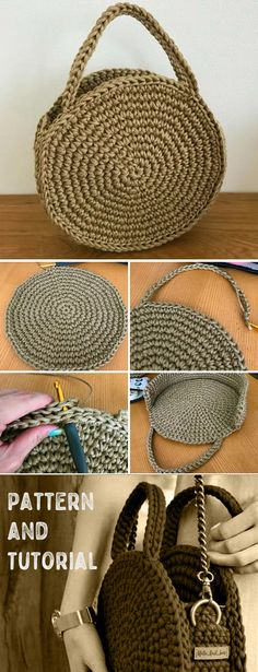 Stofftaschen & Beutel DIY canvas totes and bags Crochet Round Bag. Pattern and Tutorial Crochet Round Bag. Pattern and Tutorial Step by step illustration tutorial. House Bag bags Beutel Canvas Crochet diy Home diy Pattern Stofftaschen totes tutorial Bag Crochet, Crochet Diy, Crochet Motifs, Crochet Handbags, Crochet Round, Crochet Crafts, Crochet Projects, Diy Projects, Sewing Projects