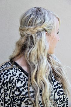 This braided half crown is perfect for summer.