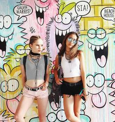 All of our favorite bands! Lexee Smith and Hailey Sani at #Coachella2016. #garagefestival #iweargarage