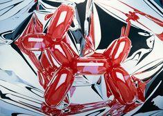 Jeff Koons - Artwork: Balloon Dog: oil on canvas.oil on canvas 102 x 143 inches x cm © Jeff Koons Balloon Dog, Balloon Animals, Red Balloon, Neo Pop, Takashi Murakami, Jean Michel Basquiat, Keith Haring, Pintura Industrial, Jeff Koons Art