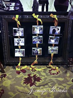 DIY display: Frame, ribbon, pics (and rug courtesy from her home living room)