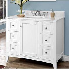 "Fairmont Designs Shaker Americana 42"" Traditional Single Sink Bathroom Vanity - White 1512-V42 at DiscountBathroomVanities.com"
