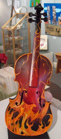 flames violin - Artist Stephen Kent's Violin
