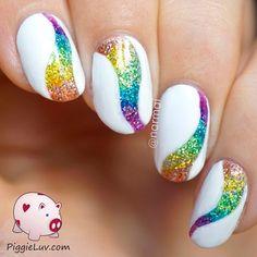 Rainbow Tornado Glitter Nails