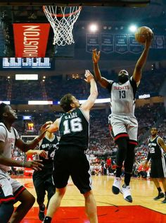 Houston Rockets guard James Harden (13) shoots over San Antonio Spurs center Pau Gasol (16) during the first half of Game 3 of the second round of the Western Conference NBA playoffs at the Toyota Center, Sunday, May 7, 2017, in Houston. ( Karen Warren / Houston Chronicle ) Photo: Karen Warren/Houston Chronicle