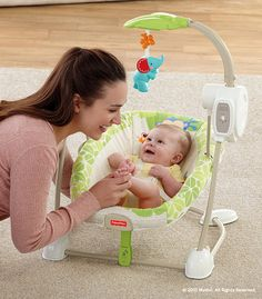 The Rainforest Friends SpaceSaver Swing & Seat is a portable infant swing with soothing songs, five speeds and a cozy seat with calming vibrations. #BabyGear