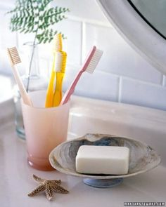 Seashell Soap Dish:  Want to put your beach finds to practical use? Turn a pair of pretty shells into a soap dish. Clam or scallop shells are ideally shaped for holding bars of soap.