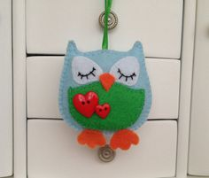 Felt owl, Felt ornaments, Felt toy, Owl decorations, Felt animals, Pink owl, Green owl, Blue owl, Birthday gift, Owl accessory