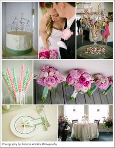 green and pink wedding beach decor