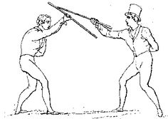 Early drawing of La Canne- a 19th century stick fighting method from France