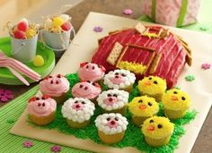 cute cake and cupcakes for barnyard or farm party