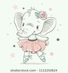 Vector illustration of a cute baby elephant ballerina in a pink tutu. - Dariana Wunsch - Vector illustration of a cute baby elephant ballerina in a pink tutu. Vector illustration of a cute baby elephant ballerina in a pink tutu. Baby Elephant Drawing, Baby Animal Drawings, Cute Baby Elephant, Elephant Theme, Elephant Art, Cute Drawings, Cute Elephant Cartoon, Cute Baby Cartoon, Cartoon Drawings